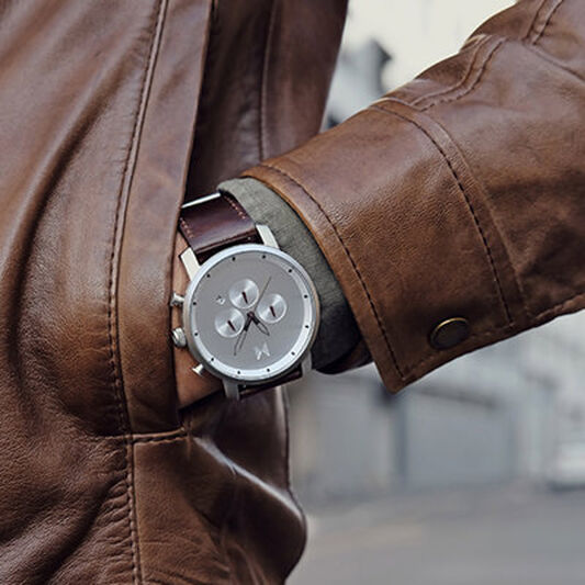 Silver Brown Leather