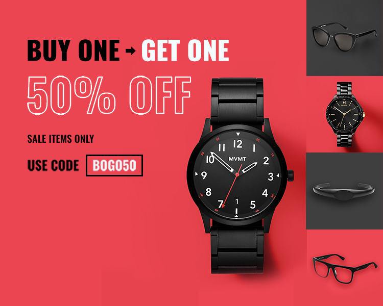 Mens black watch, black womens watches with gold accents, black blue light glasses, black sunglasses, mens black bracelet on red background