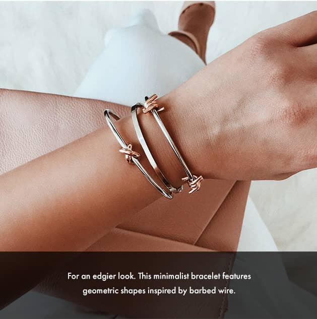 For an edgier look. This minimalist bracelet features geometric shapes inspired by barbed wire.