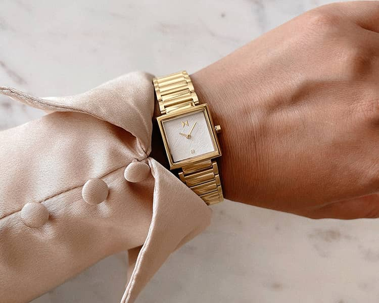 Womens Top Performing Gold Frost Watch on wrist Right Tile