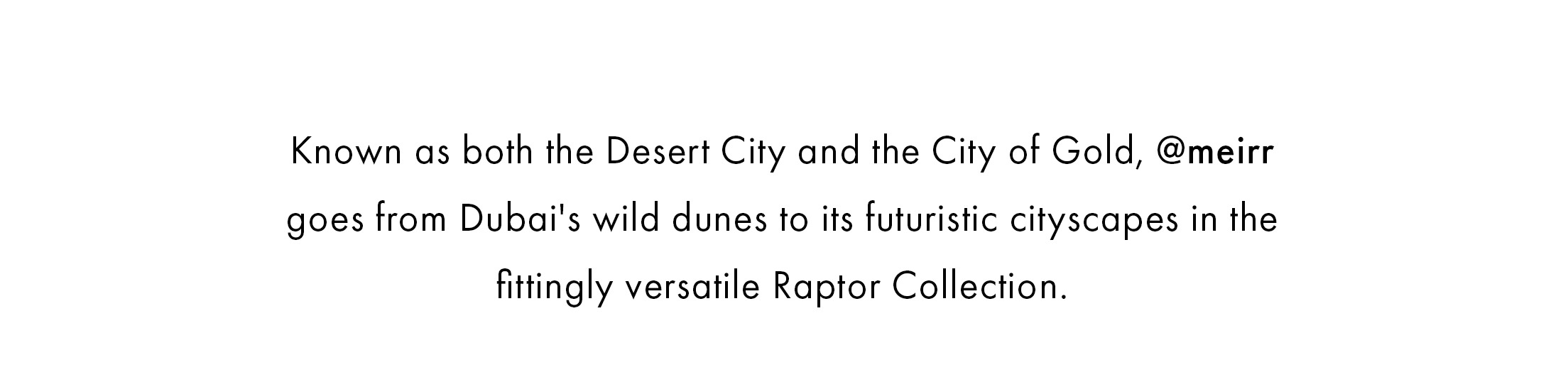 Known as both the Desert City and the City of Gold, @meirr goes from Dubai's wild dunes to its futuristic cityscapes in the fittingly versatile Raptor Collection.