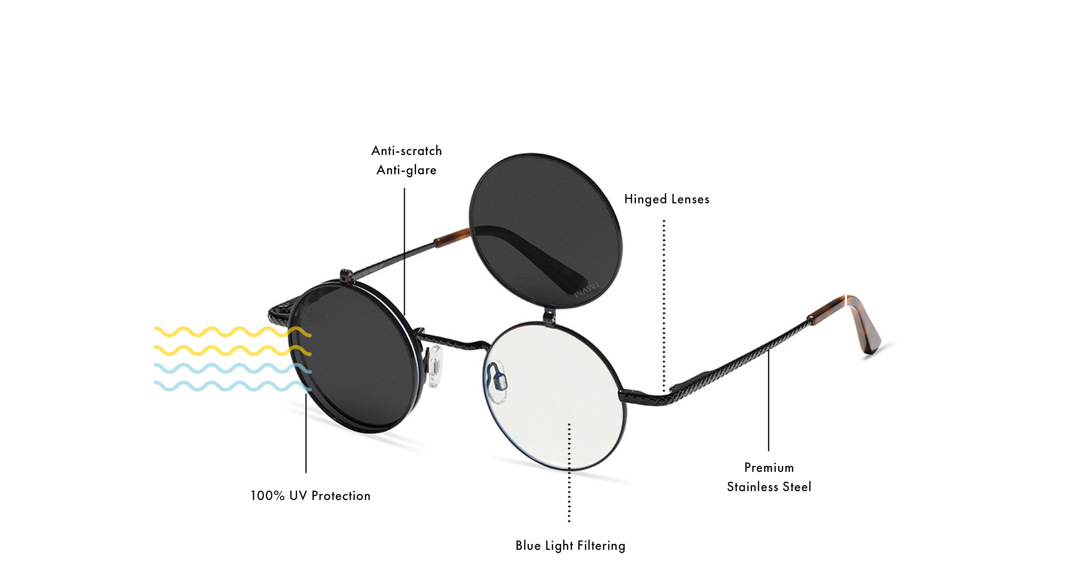 100% UV Protection, Anti-scratch, Anti-glare, Blue Light Filtering, Hinged Lenses, Premium Stainless Steel