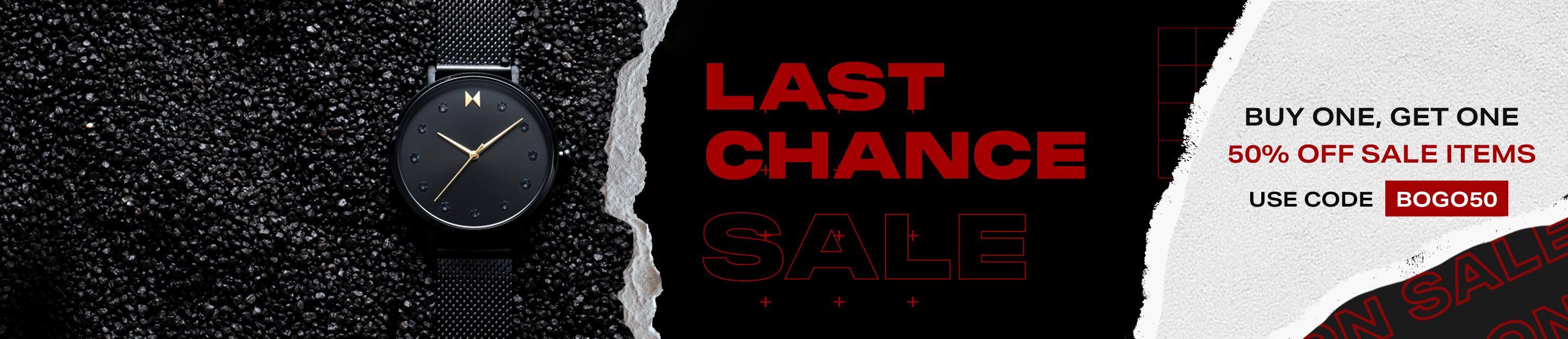 bogo sale all products mens black watch, womens black watch, black blue light glasses, black sunglasses, black mens bracelet on red background